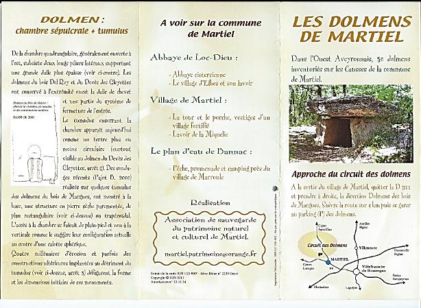 Brochure des dolmens de Martiel