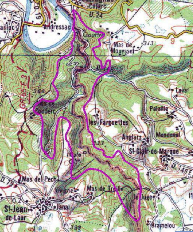Carte des zones d'intérets écologiques de Martiel